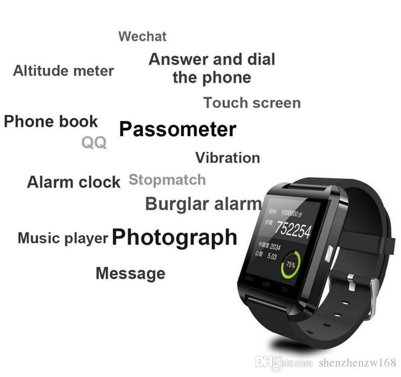 10X Bluetooth Smartwatch U8 U Watch smartwatch A1 DZ09 GT08 for iPhone 4 4S 5 5S Samsung S4 S5 Note 2 Note 3 HTC Android Phone Smartpho A-BS