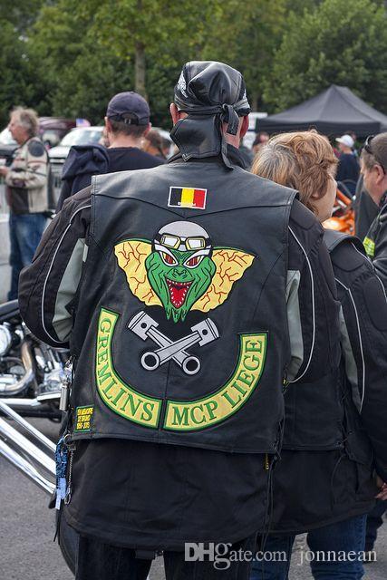 COLORI SUPERIORE COOLEST GERMLINS MCP LIEGI MOTORCYCLE CLUB zona del ricamo GILET BIKER FUORILEGGE MC PATCH