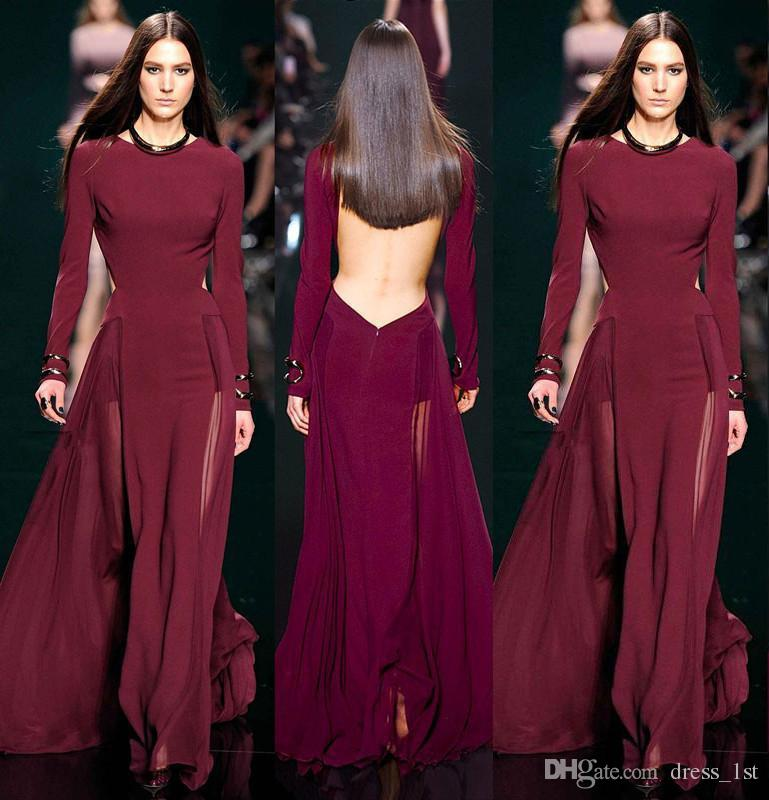 2017 Elie Saab бордовый шифон с длинным рукавом вечерние платья Sexy Backless See Through юбка длинные платья вечерняя одежда на заказ EN12015