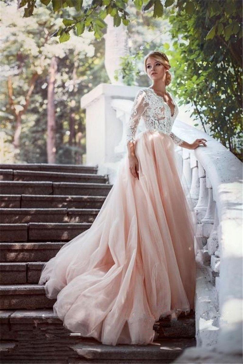 Grosshandel 2017 Romantische Spitze Tulle Rosa Hochzeitskleid