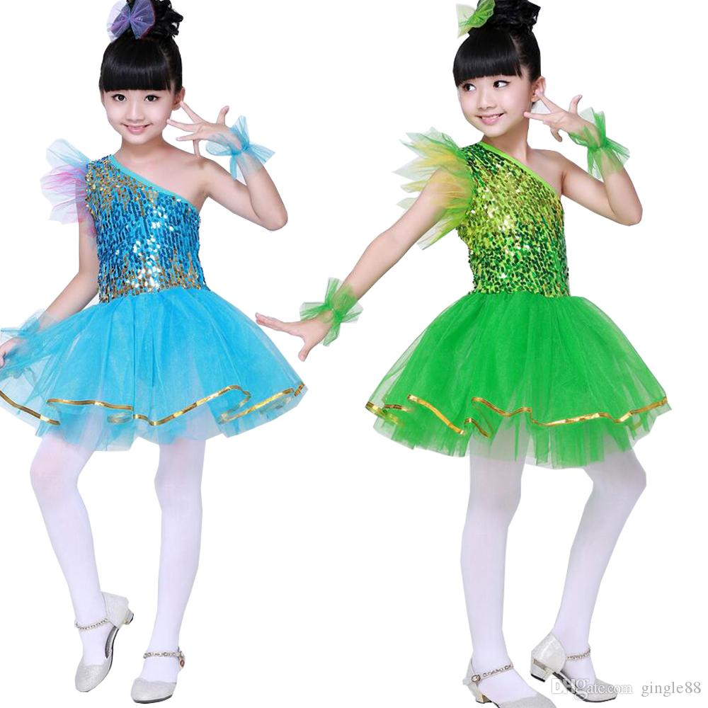 New Arrival Kids Sequined Dancing Stage Wear Dress Children Girls ... 79f71a03c1ec