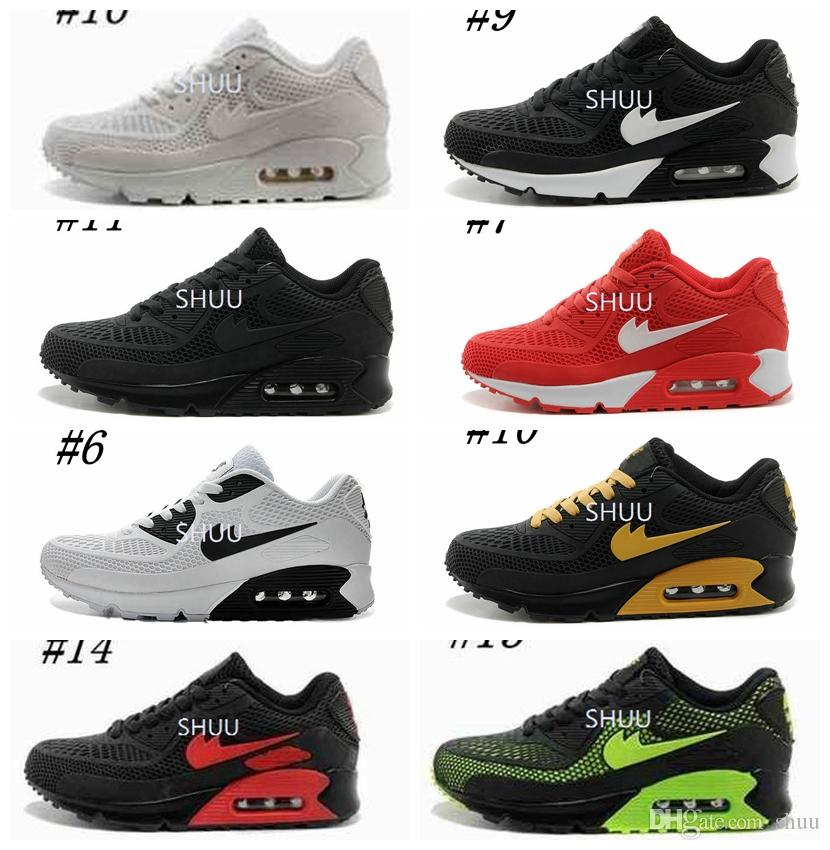Mens Sneakers Shoes Classic 90 Men And Women Running Shoes Black Red White  Sports Trainer Air Cushion Surface Breathable Sports Shoes 36 45 Shoe Sale  ...