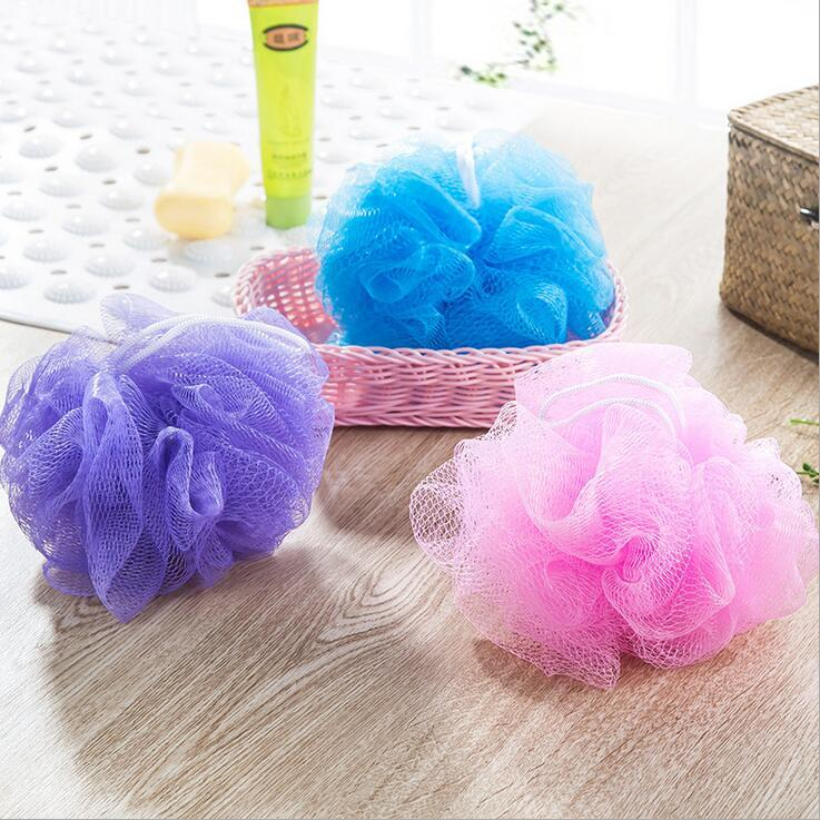candy colorful eco-friendly PE bath ball pull back bath flower body cleaning mesh shower bathroom accessories