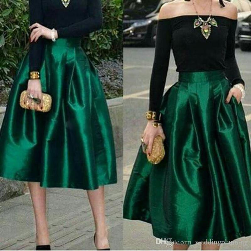 Dark Green Under Midi Skirts For Women High Waisted Ruched