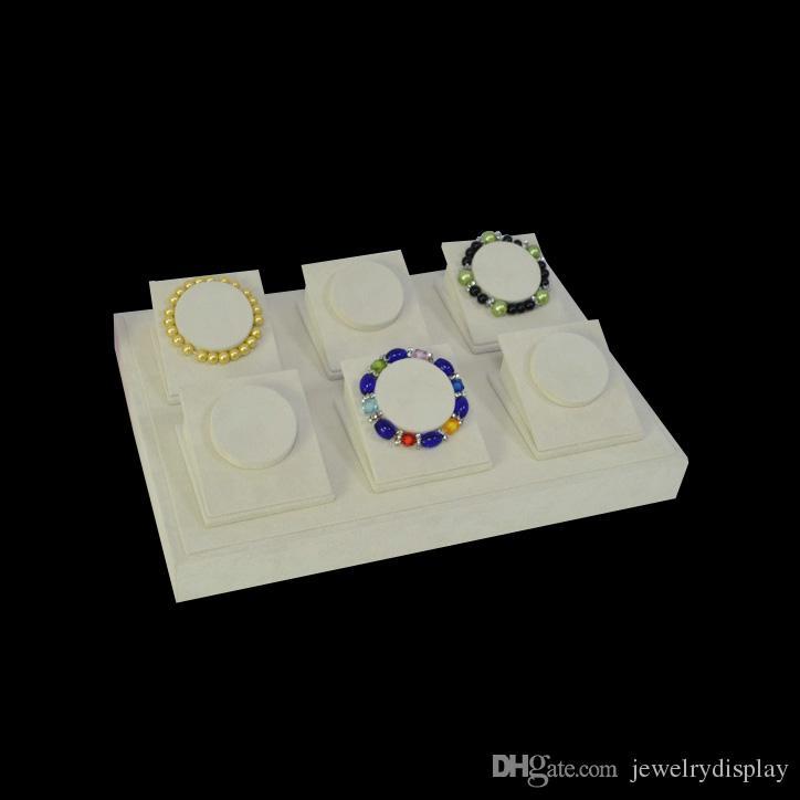 Bandeja de Exibição de jóias Para PulseiraBangão Titular Stand Bangle Display Bege De Veludo Exibe Casos Organizar