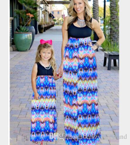 e524aa4860e Plus Size Mother And Daughter Matching Dress Patchwork Sleeveless Maxi Long Dresses  Mother And Daughter Clothes Family Clothing Outfits 692 Matching Family ...