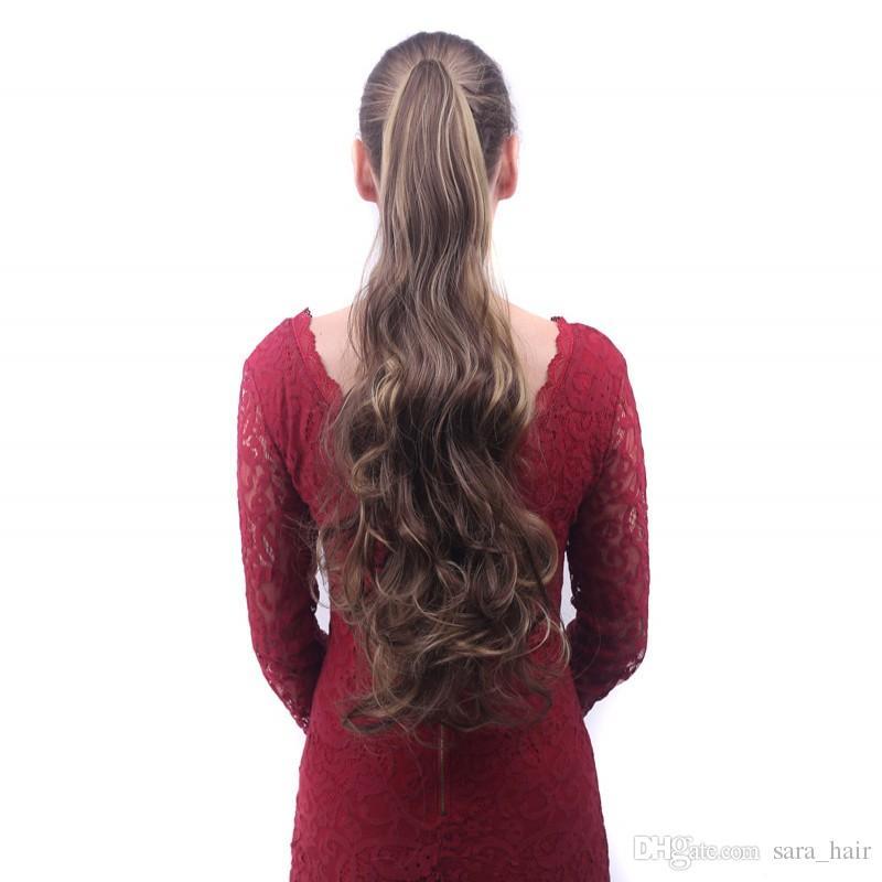 Сара дамы девушки Коготь челюсти кудрявый вьющиеся хвостики клип в аналогичном человеческом хвосте наращивание волос хвощ хвост пони шиньон 55СМ, 22