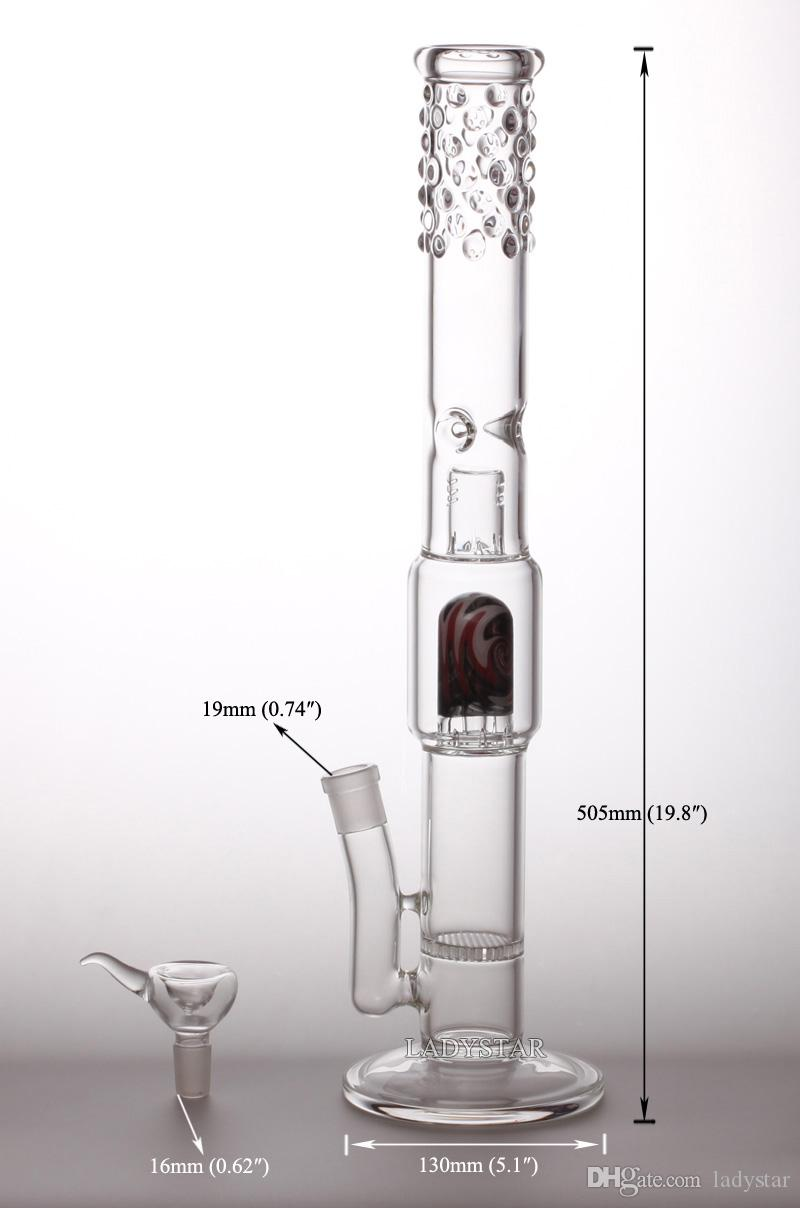 Large Glass Bong Double Recycler Ash Catcher Honeycomb Percolator Bongs Birdcage Perc Inline Water Pipes Water Function smoking hookahs L191