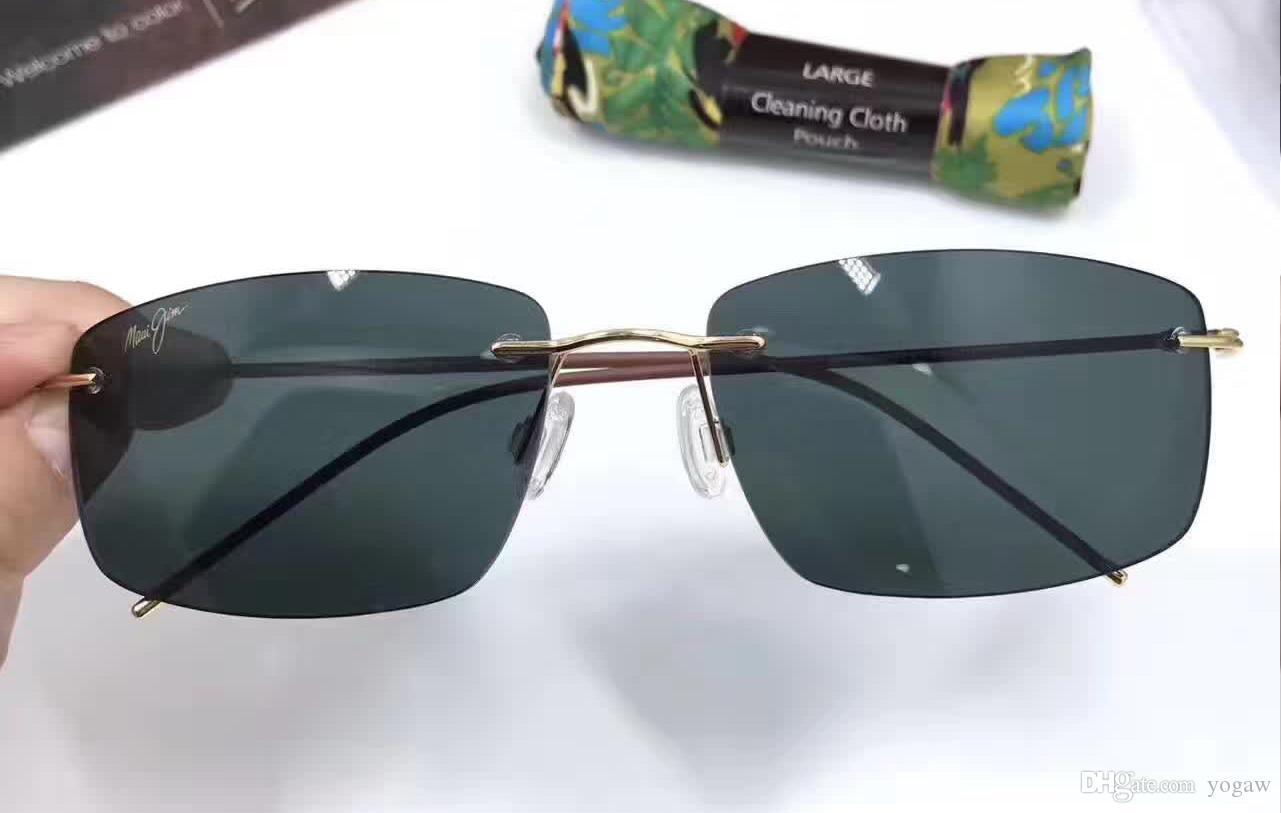 джим Фрегат Rimless Gloss темно-коричневый Солнцезащитные очки Мода Sunglass мужчины солнцезащитные очки новый с коробкой