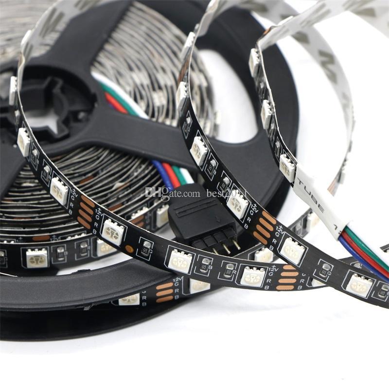 LED Strip 5050 Not Waterproof Black PCB RGB DC12V 60LEDs/m 5mFlexible LED Light RGB 5050 LED Tape Home Decoration Lamps