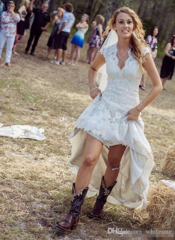 Rustic Country High Low Wedding Dresses 2017 with Lace Hi Lo Skirt Sexy V-Neck Capped Sleeves Personalized Plus Size Boho Chic Bridal Gowns