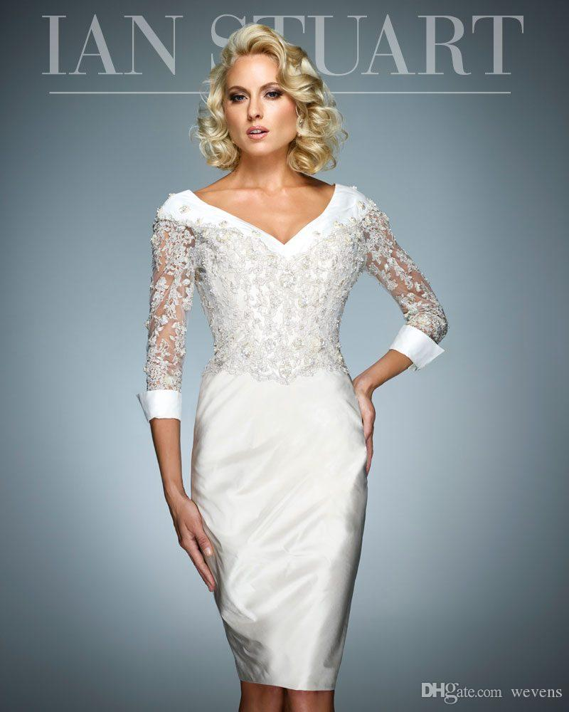 Elegant Sheath White Mother of the Bride Dresses V Neck 3 4 Long ... 341e8353f583