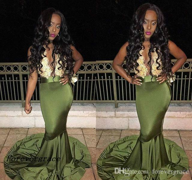 Cheap Sexy Long Lace Deep V neck Prom Dress Sleevless Black Girl Mermaid African Evening Party Gown Custom Made Plus Size