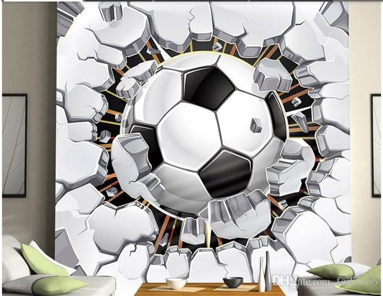 Unique black and white football ball crashing the window wallpaper mural