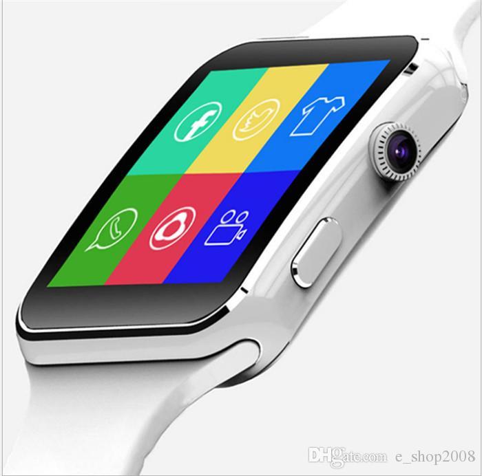 Curvo tela x6 smartwatch smart watch pulseira telefone com slot para cartão sim tf com câmera para iphone samsung lg sony all android móvel phon