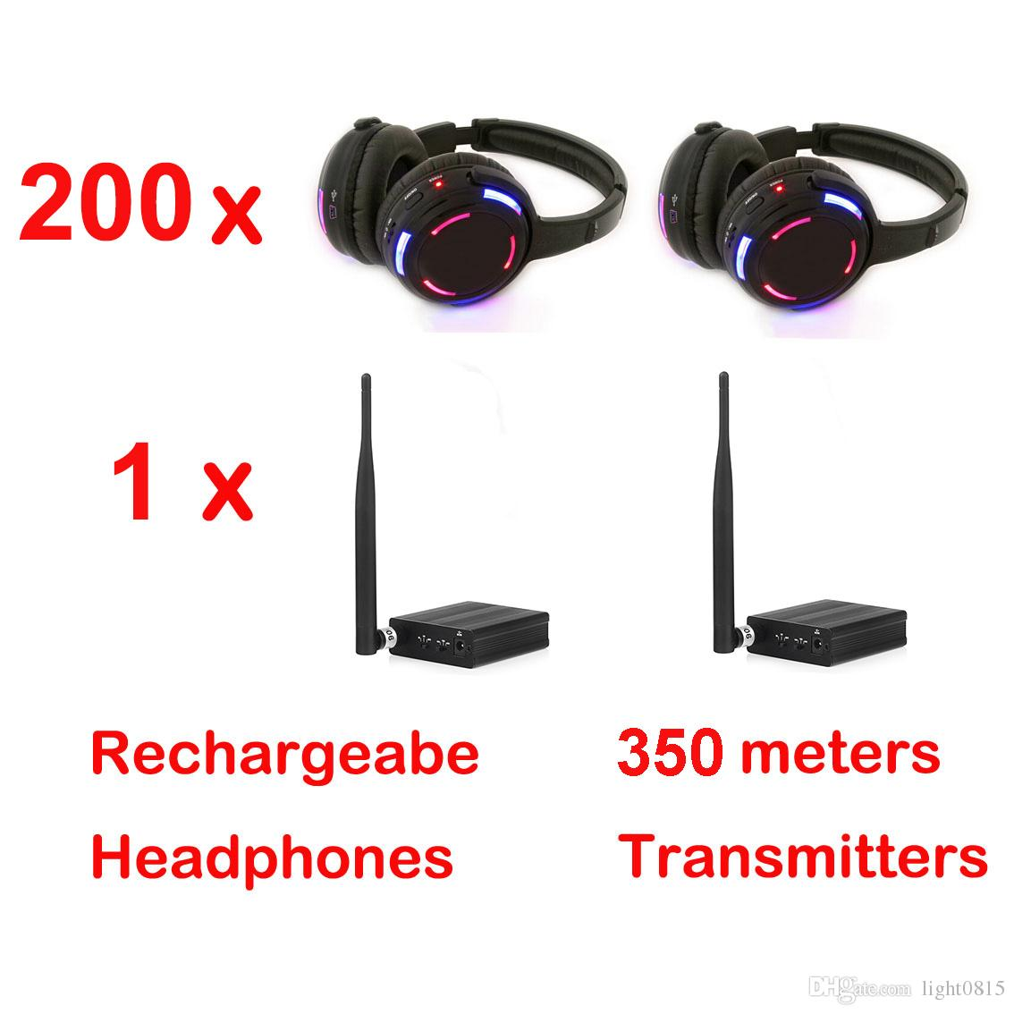 Professional Silent Disco Headphones with 1 Channel Bargain Wireless System For iPod MP3 DJ Music (200 Receivers + 1 TX)