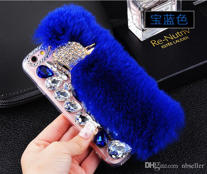 Cubierta de la caja de lujo para el pelo de conejo piel de zorro Fox Bling Bling Diamond Rhinestone TPU para iphone 5s 6 6 s más 7 7 plus