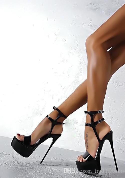 Chic Ankle Strapy Pumps Platform ultra High Heels 16cm White Black Red Sexy Women Club Party Shoes size 34 to 40