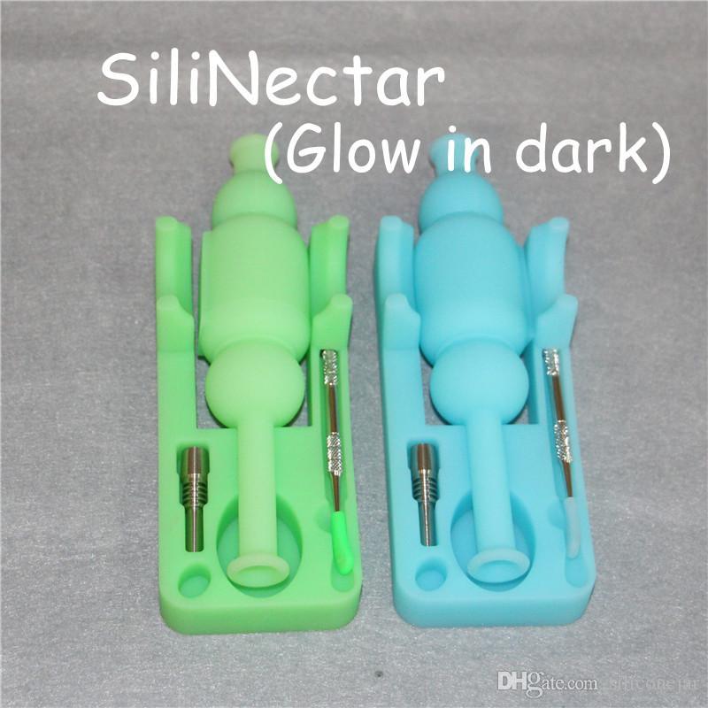 Kit da collezione del mini nettare in silicone con chiodo in titanio 10mm joint joint mini bong di vetro impianti di petrolio DABs Bongs Glass Water Pipes DHL