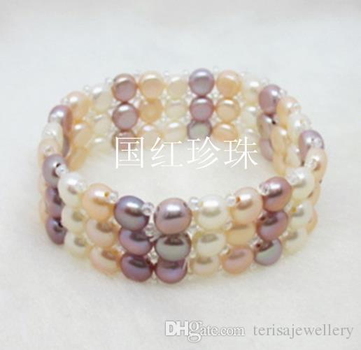 Bracelet de perles parfait, Bracelet élastique, 6 rangs de perles de perle d'eau douce de couleur naturelle.