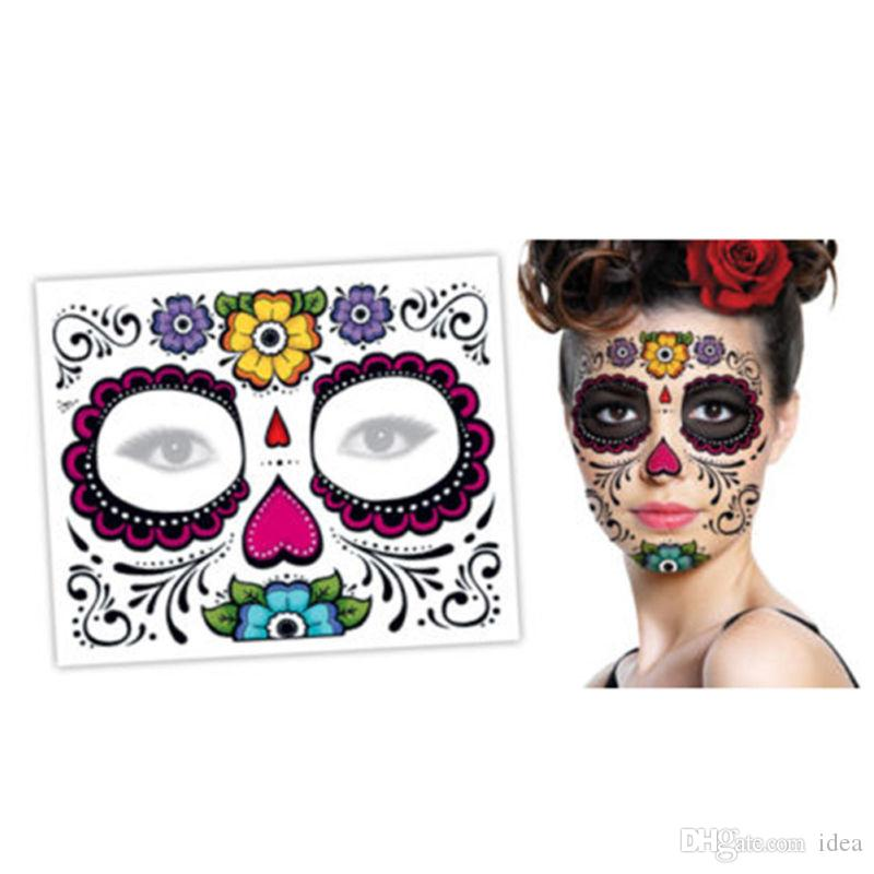 Venda quente festa de Natal dia Facial dos mortos enfrentou tatuagem Halloween e bola de máscaras deve, etiqueta bonita do tatuagem à prova d 'água