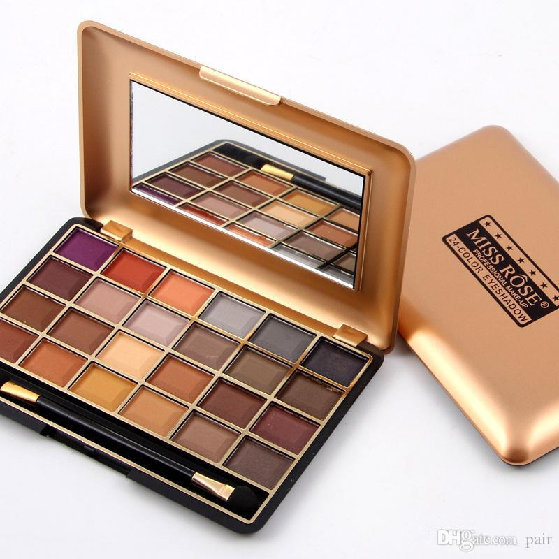 Miss Rose Gold 24 Eyeshadow Earth Mineral Makeup Shadow Palette Beauty Cosmetic Set DHL