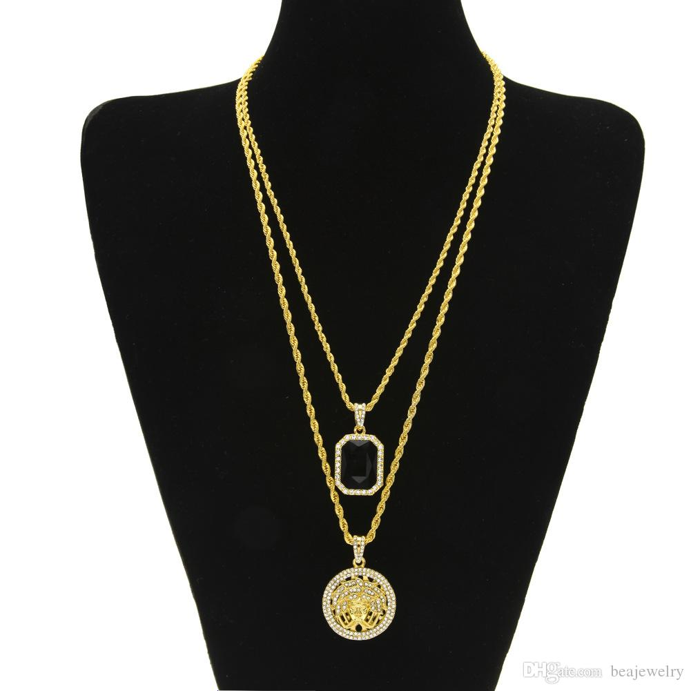 Iced Out Micro Ruby Jesus Face Pendant Necklace Set for Men High Quality Zinc Alloy Hip Hop Jewelry