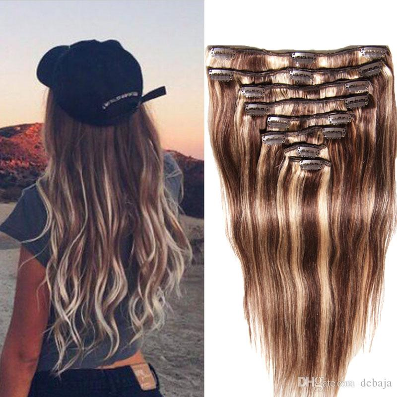 Brazilian Hair Extension 18 24 Long Straight Clip In Human Virgin