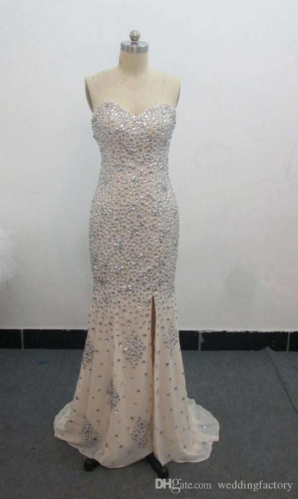 Sexy Sweetheart Mermaid Perlen Kleider Real Image Champagner Chiffon Kristalle Abendkleid Prom Party Kleider Split Sweep Zug Reißverschluss zurück