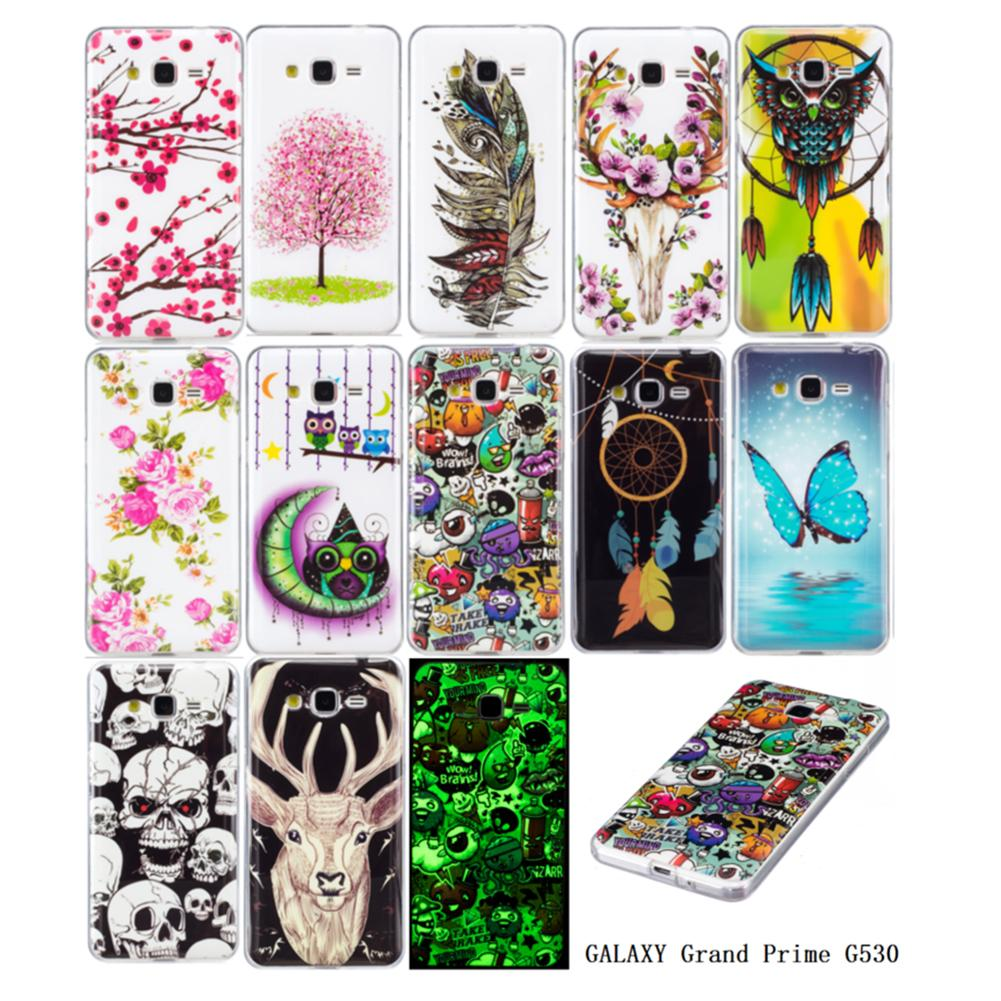 b36b65fdafe Fundas De Celulares Para Samsung Galaxy Grand Prime G530 Casos Cubierta  Cool Noctilucent Brighten Feather Butterfly Flowers Owl Animal Coase  Protectores ...