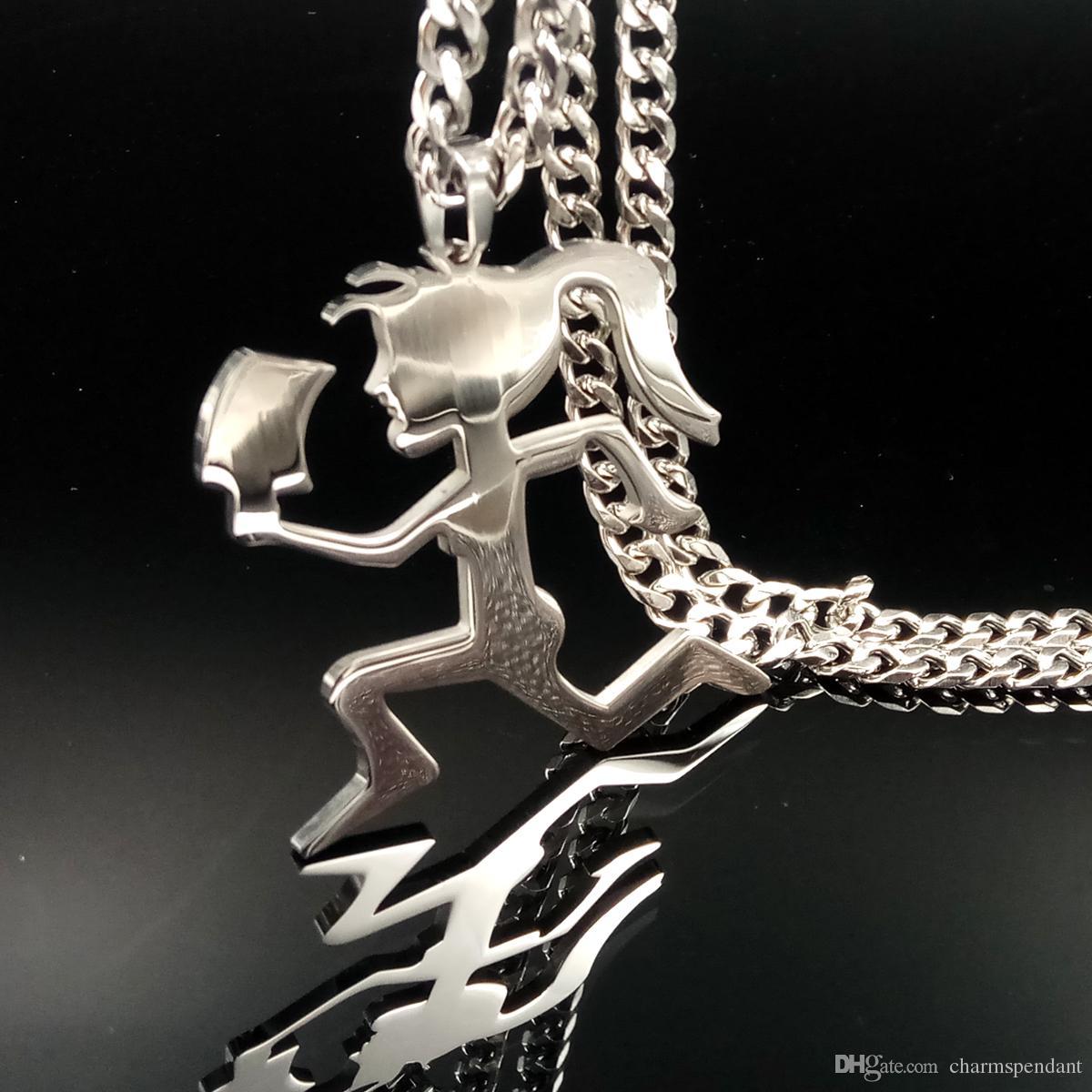 Freies schiff Hochglanz poliert silber ICP Schmuck Silber Edelstahl Beil Frauen Juggalette Anhänger mit 5mm 24 zoll Kubanische Kette Halskette