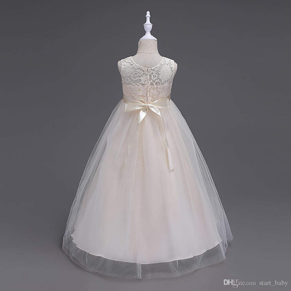 Children princess lace dress 2017 new big girls top grade high quality long dress lace tutu wedding Vest Bow belt dress for big kids B001