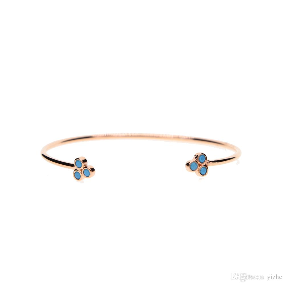 rose gold 18k gold pave turquoise stone triangle unique fashion classic jewlery open cuff bangle for women fashion jewelry