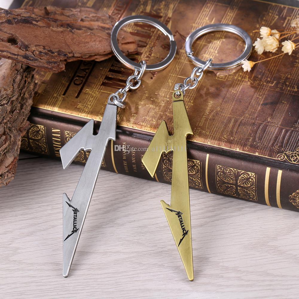 2 Farben Beliebte Band Schlüsselanhänger Metallica Logo-Anhänger Art und Weise Retro Keychain Schmucksache-Legierung Anhänger für Männer