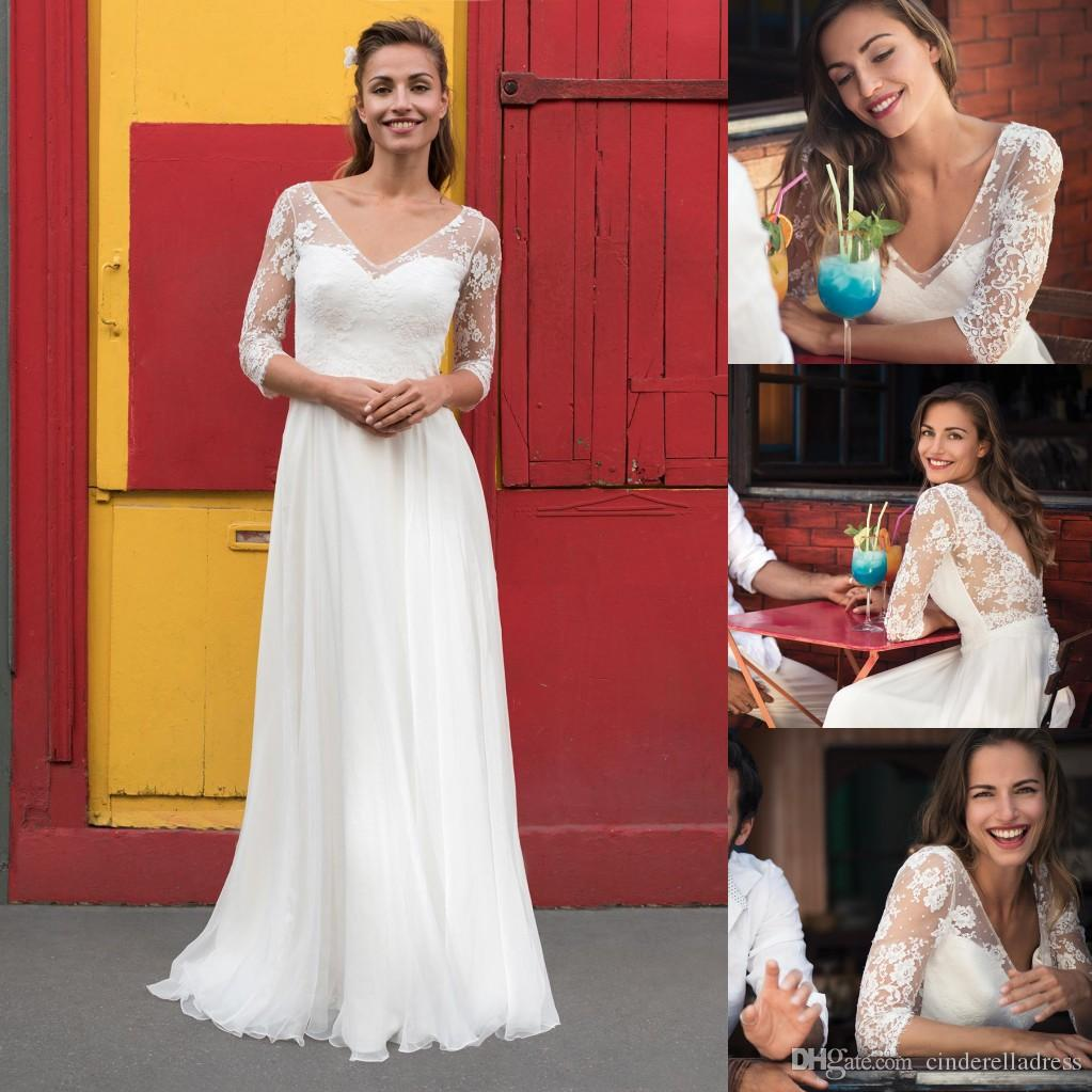 3699f796a3 Discount 2018 White Wedding Dresses V Neck 3 4 Sheer Illusion Sleeves Open  Back For Summer Beach Bridal Dress Cheap Wedding Gowns Wedding Gown Lace A  Line ...