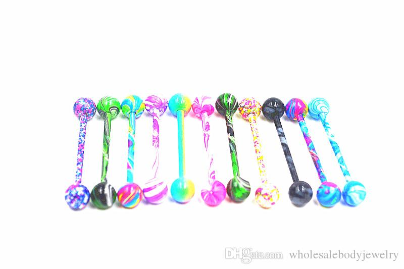 LotStainless Steel Tongue/Nipple Ring Bar Barbells Body Jewelry Ear Bar Piercing New Candy Colors 14G