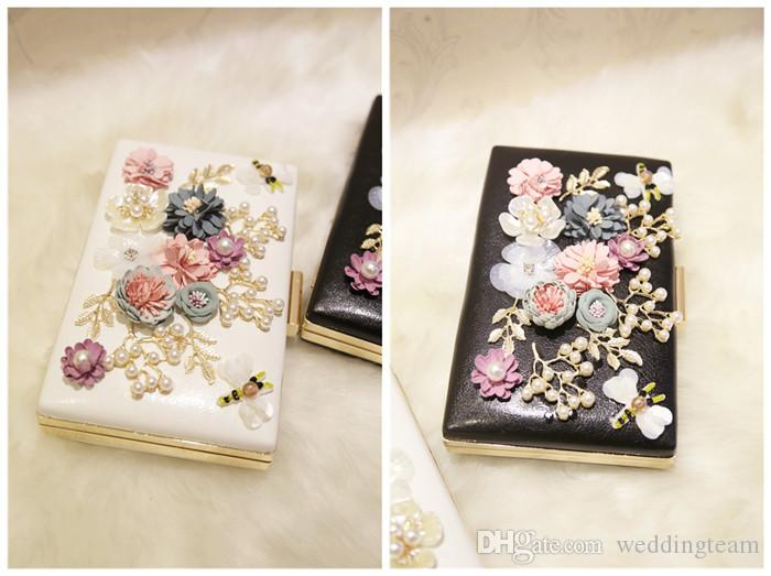 Fashion Pearls Bridal Hand Bags With Flowers Dragonfly Clutches For Wedding Jewelry Prom Evening Party Bag 20CM*15CM