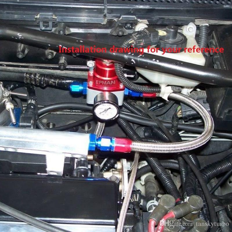 Tansky - Универсальный комплект регулятора давления впрыскиваемого топлива Жидкостный манометр с масляным фитингом, подходящий для BMW 3 E30 m-technic 318i EP-FPR005