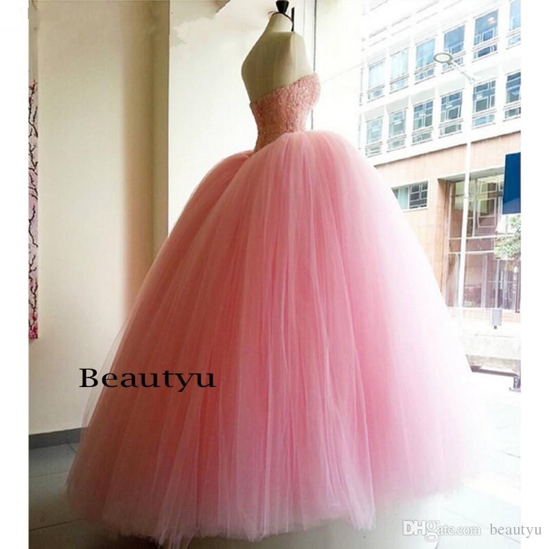 Kabarık Balo Pembe Tatlı 16 Elbiseler Quinceanera Elbise Uzun Sevgiliye Aplikler Boncuk Vestidos De 15 Anos Parlak Balo Abiye Kızlar Için 2017