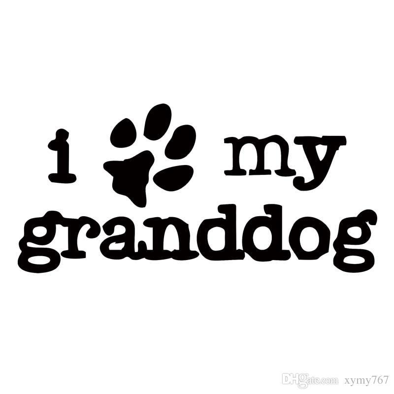 Für I Love My Granddog Funny Car Aufkleber Auto Styling Vinyl Persönlichkeit Auto Stoßstange Windschutzscheibe Aufkleber