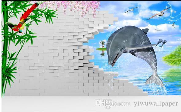 Classic Home Decor Dolphin 3D Wandbild 3d wallpaper 3D Tapeten für TV-Kulisse
