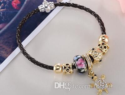2017 nueva moda de Europa y los Estados Unidos pulsera de aleación de viento de cristal con corazón de melocotón colgante cadena de perlas de vidrio joyas de diamantes x 10