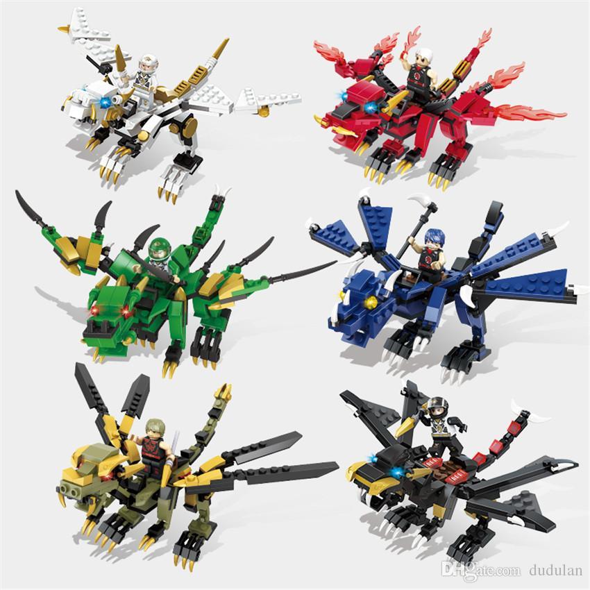 Hsanhe beast Series mini 2 changes colorful ninja Building Blocks 6 in Bricks DIY Educational animal robot Toys #6226-62316232