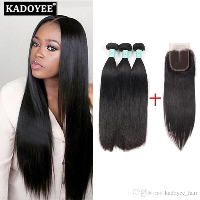 Mink Silky Straight Hair Weaves 3bundles With 4x4 Lace Closure