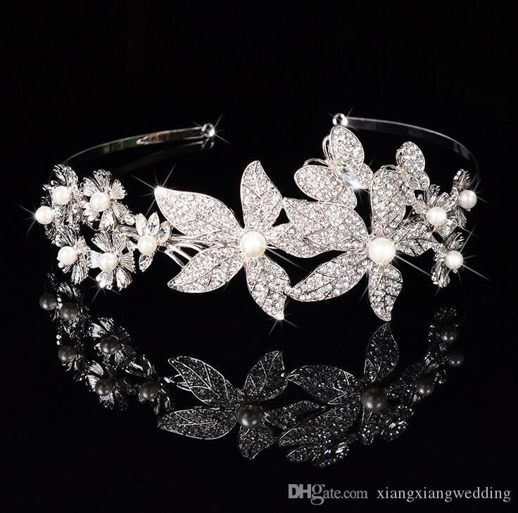 Superbe Princesse De Mariage Nuptiale Fleur Filles Cristal Strass Perle Bandeau Tiara Bande De Cheveux Fille Fête D'anniversaire Cheveux Accessoires