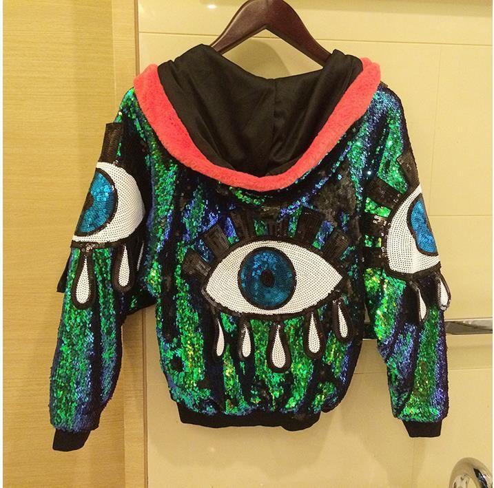 Ночной клуб Fashion куртки Женщины пальто Singer танца блестки Ladeis Верхняя одежда Performance костюм