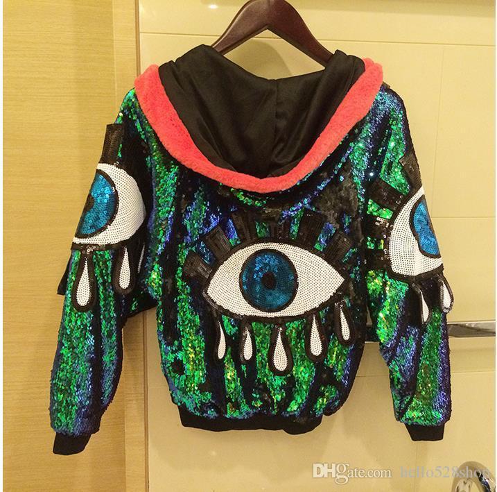 Gece kulübü Moda Ceketler Kadın Coat Şarkıcı Dans Pullarda Ladeis Dış Giyim Performans Kostüm