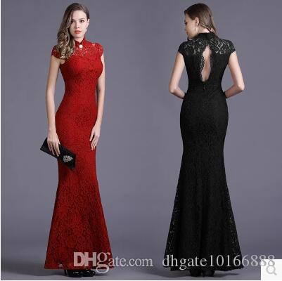 562545bc751ee Europe and the United States 2017 sexy aristocratic ladies short-sleeved  lace fishtail dress Slim cheongsam dress dress free shipping