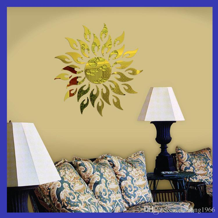 Wall Stickers 3D Mural Painting Sunflower Mirrors Plane Living Room Bedroom Paste Decoration Minute Surface Sticker Background New 10rd