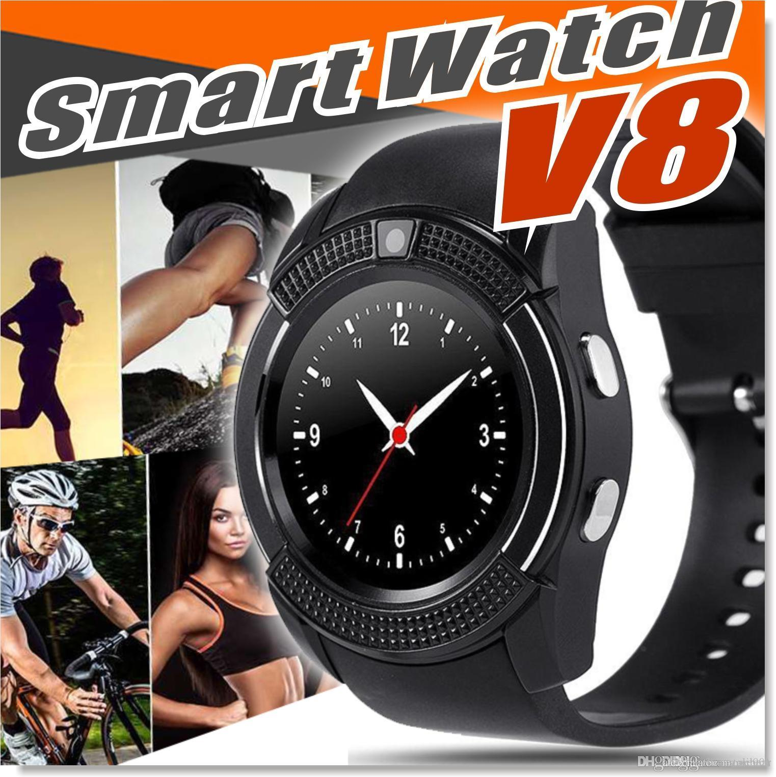 Latest V8 Smart Watch Round Face Screen Smartwatches with Bluetooth Music  Player for android & IOS cellphone with Micro Sim TF card